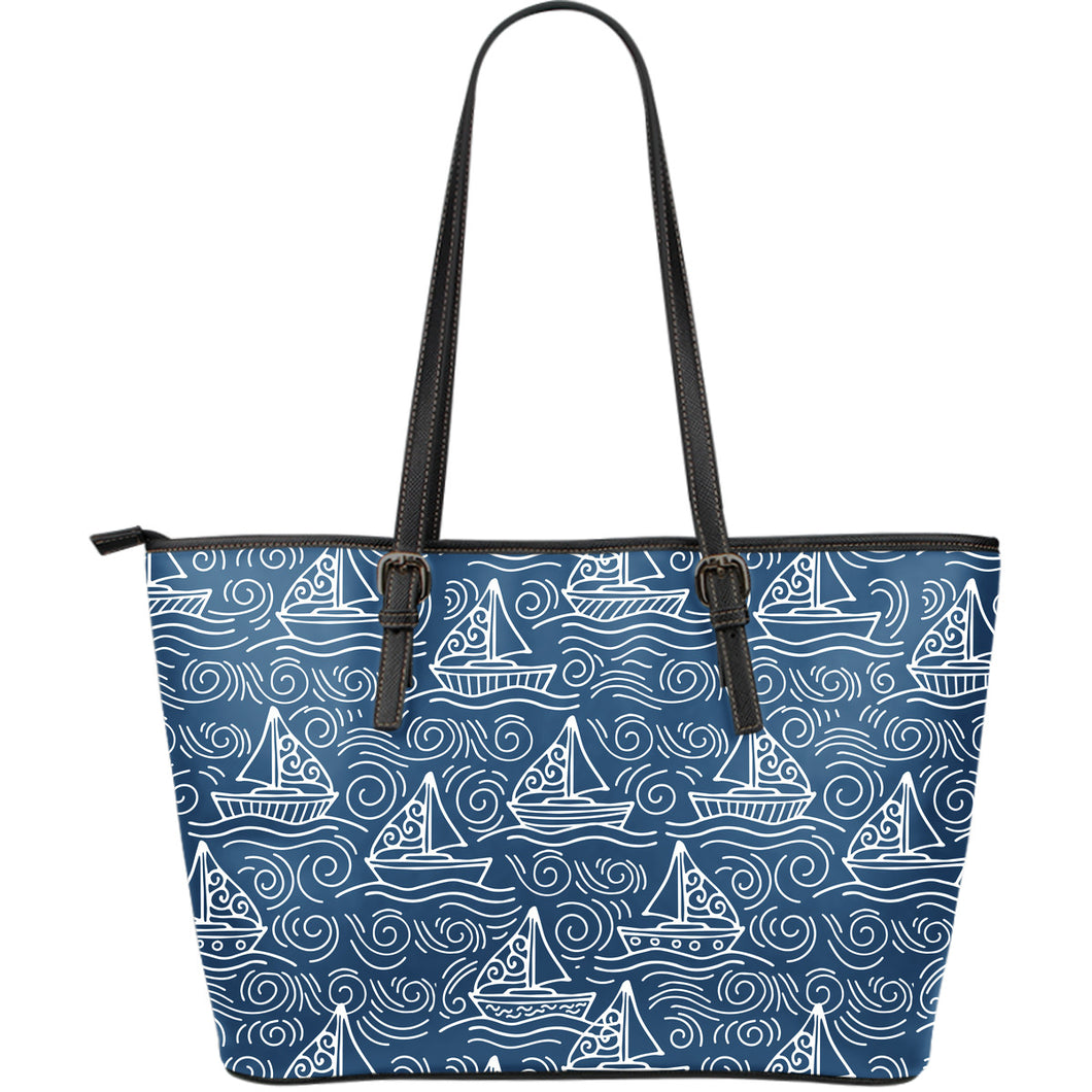 Hand drawn sailboat pattern Large Leather Tote Bag