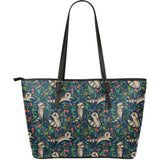 Raccoon tropical leaves pattern Large Leather Tote Bag