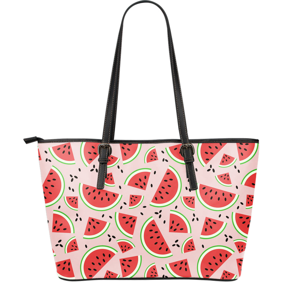 Watermelon pattern Large Leather Tote Bag
