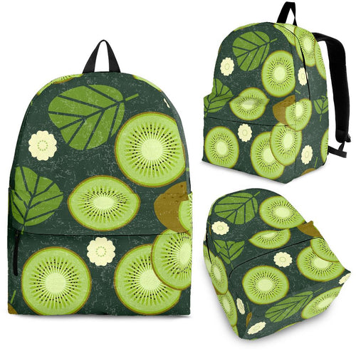 Whole sliced kiwi leave and flower Backpack