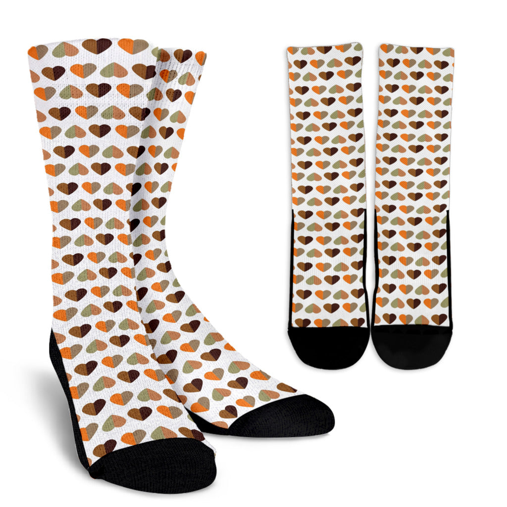 Fall Hearts Crew Socks
