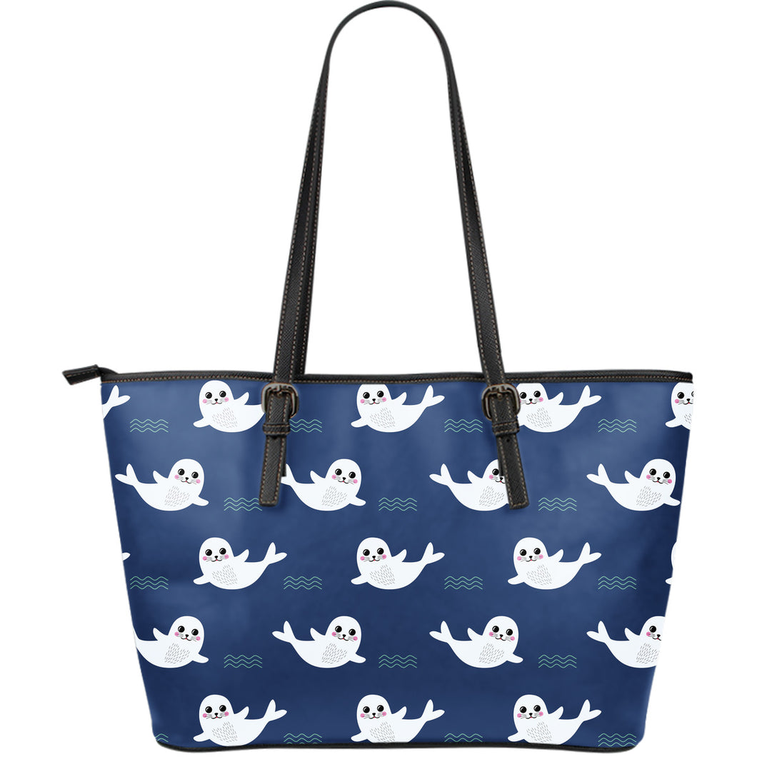 Cute white baby sea lion seal pattern Large Leather Tote Bag