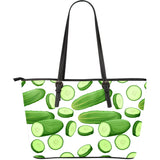 Cucumber Whole Slices Pattern Large Leather Tote Bag