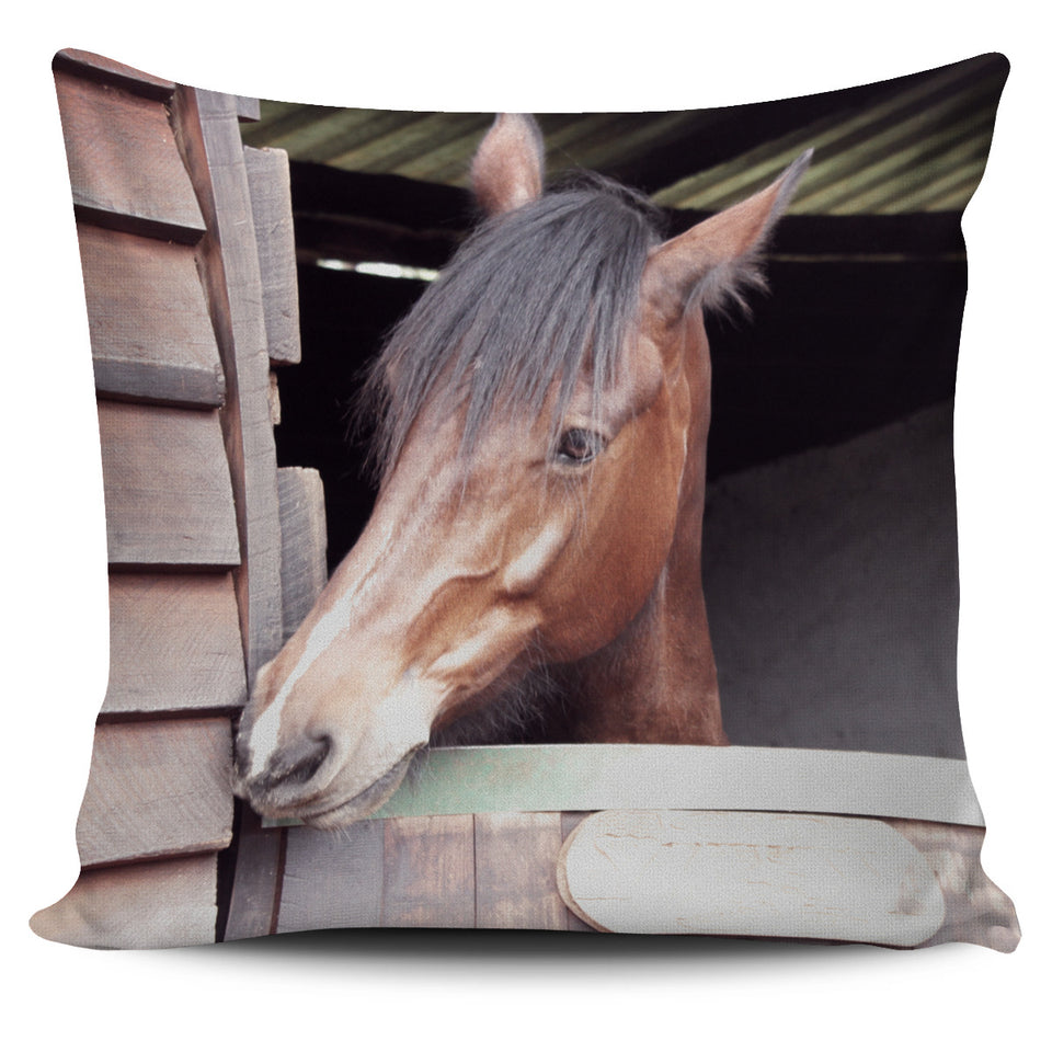 Brown Horse on the Farm Pillow Cover