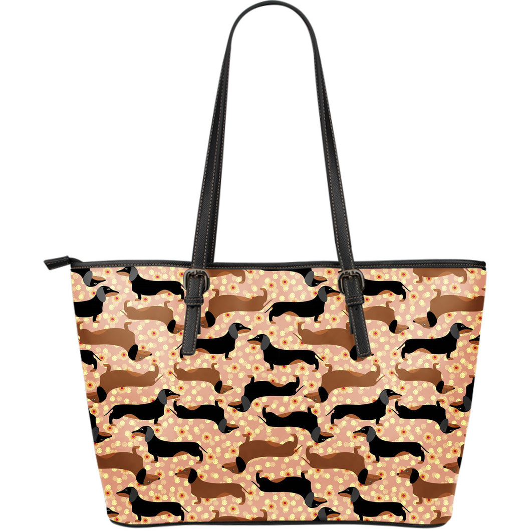 Dachshund Floral Background Large Leather Tote Bag