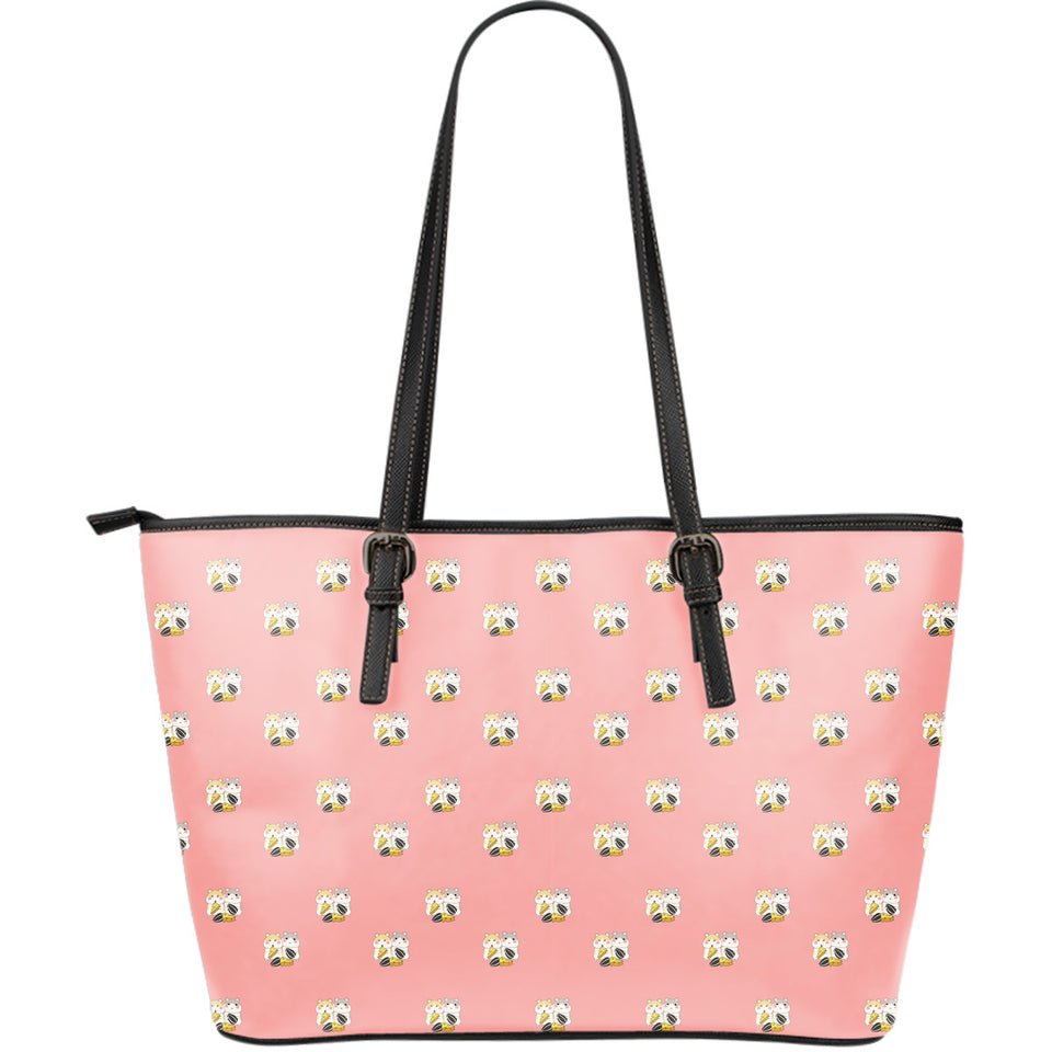 Cute hamster cheese pattern pink background Large Leather Tote Bag