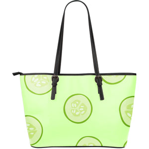 Cucumber pattern Large Leather Tote Bag