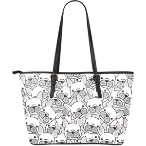 Cute french bulldog head pattern Large Leather Tote Bag