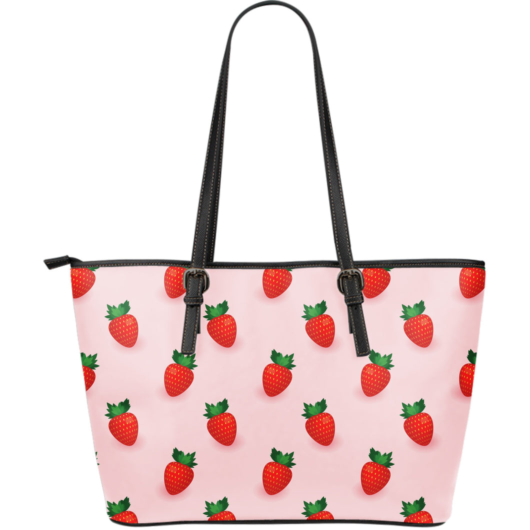Strawberry Beautiful Pattern Large Leather Tote Bag