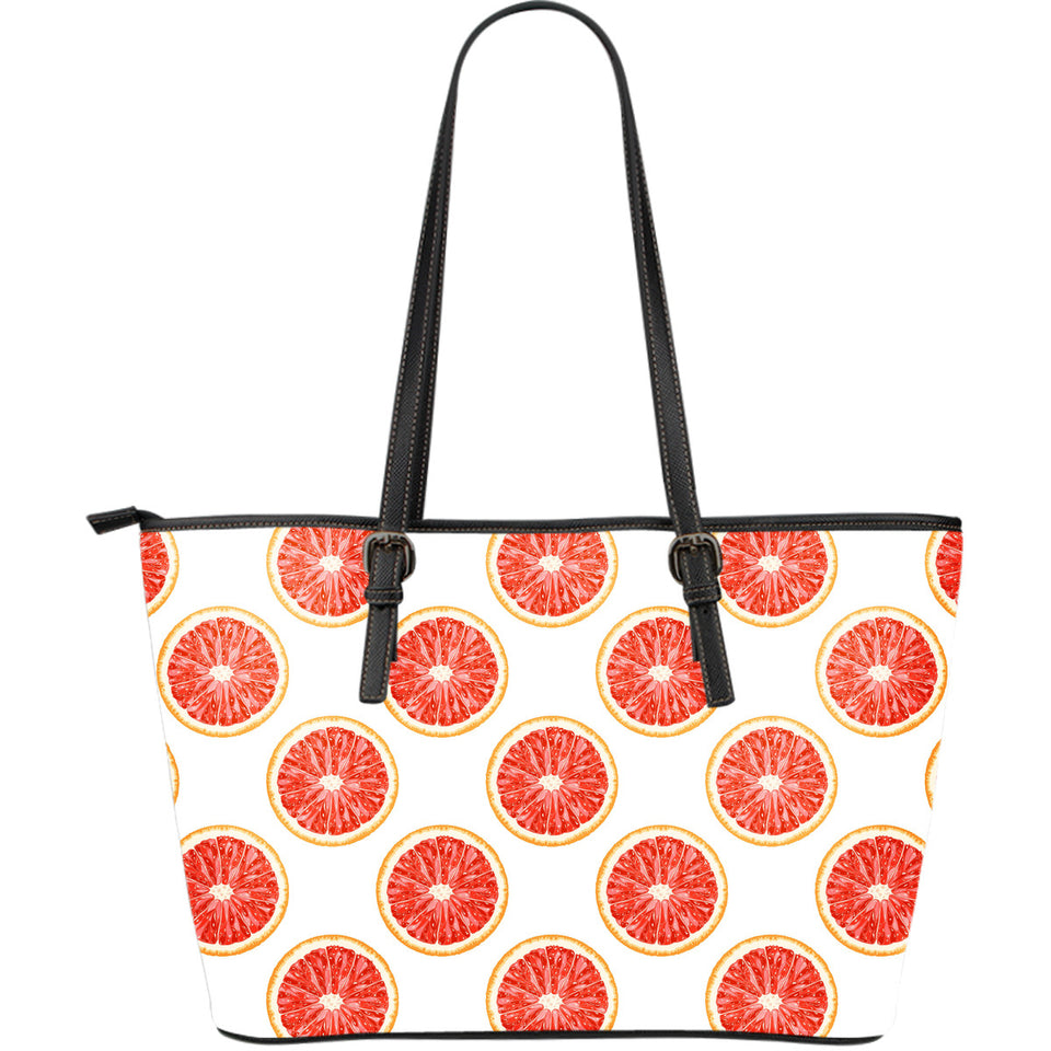 Grapefruit Pattern Large Leather Tote Bag
