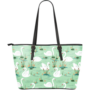 White swan lake pattern Large Leather Tote Bag