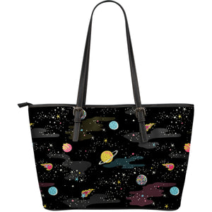 space pattern Large Leather Tote Bag