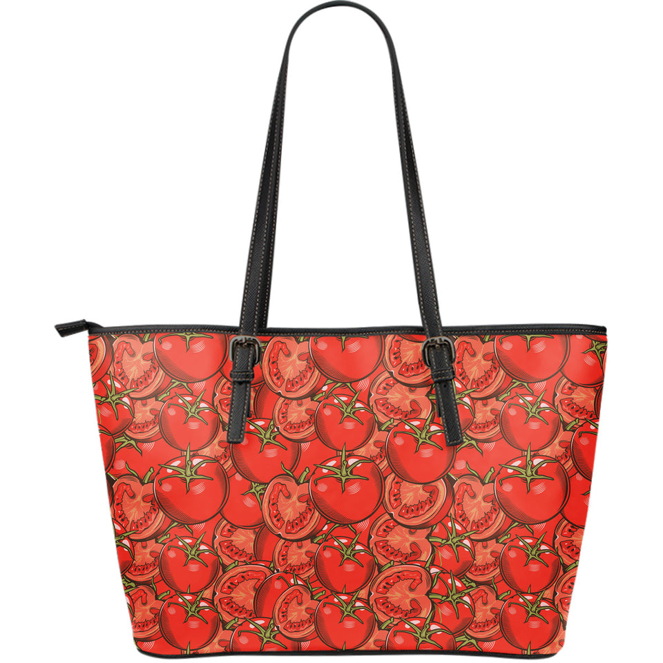 Red Tomato Pattern Large Leather Tote Bag