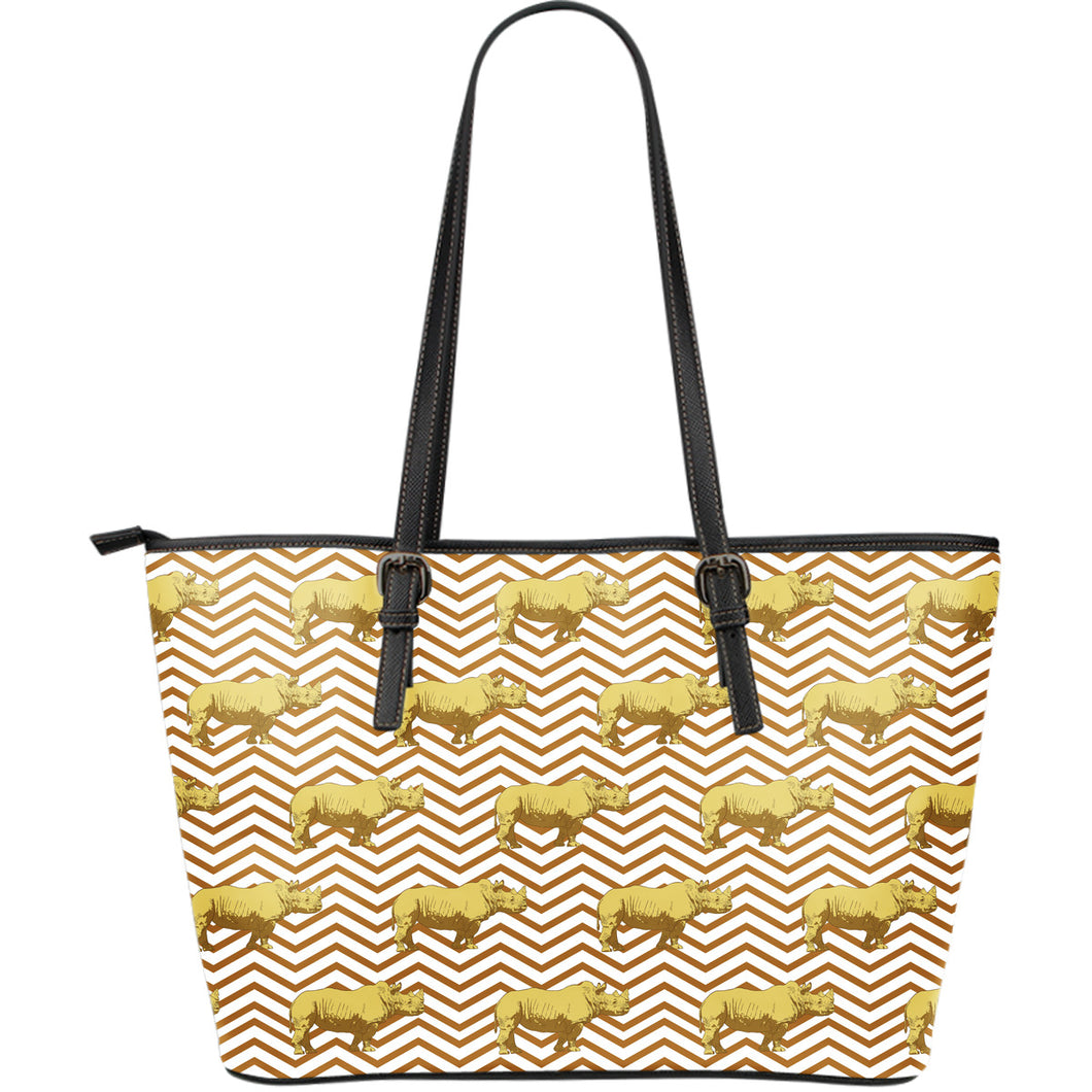 Rhino Yellow Theme Pattern Large Leather Tote Bag