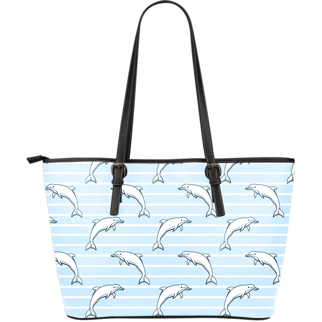 Dolphin blue striped background Large Leather Tote Bag