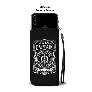 Awesome Wallet Case - I'm a Boat Captain Black ccnc006 bt0207