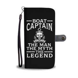 Awesome Wallet Case - Boat Captain The Man The Myth The Legend Black ccnc006 bt0208
