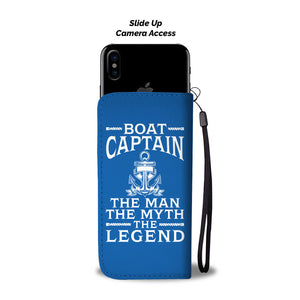 Awesome Wallet Case - Boat Captain The Man The Myth The Legend Blue ccnc006 bt0208