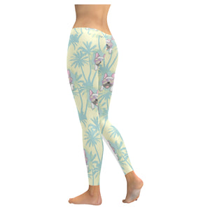 French bulldog hawaii blackground Women's Legging Fulfilled In US