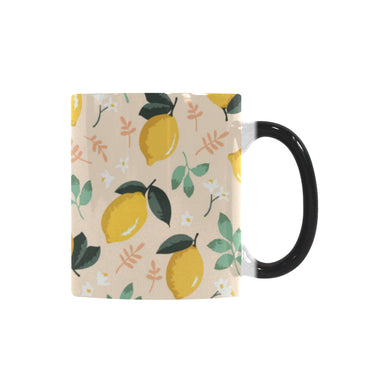 lemon flower leave pattern Morphing Mug Heat Changing Mug