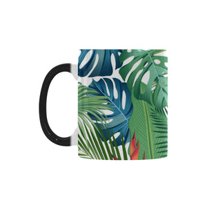 heliconia palm and monstera  leaves pattern Morphing Mug Heat Changing Mug