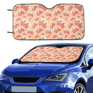Camper Van Pattern Print Design 03 Car Sun Shade