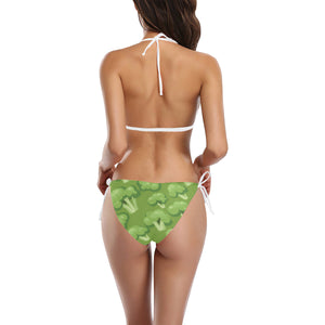 Broccoli pattern green background Sexy Bikinis Two-Piece Swimsuits