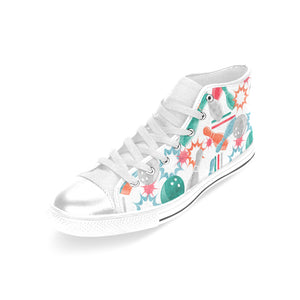Watercolor bowling pattern Women's High Top Shoes White