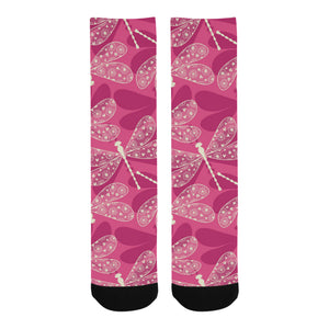 Beautiful dragonfly pink background Crew Socks