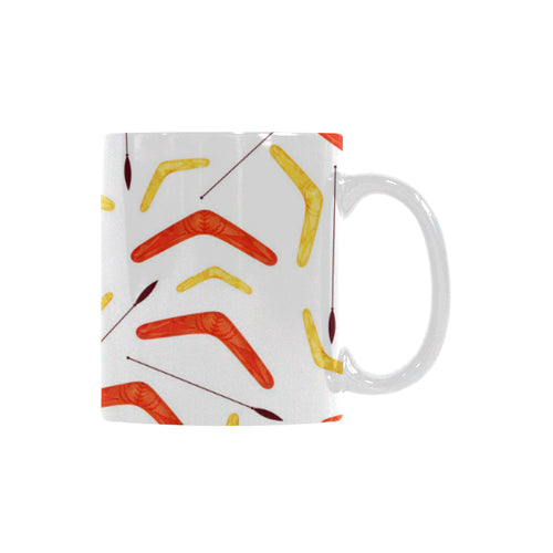 Waterclor boomerang Australian aboriginal ornament Classical White Mug (Fulfilled In US)