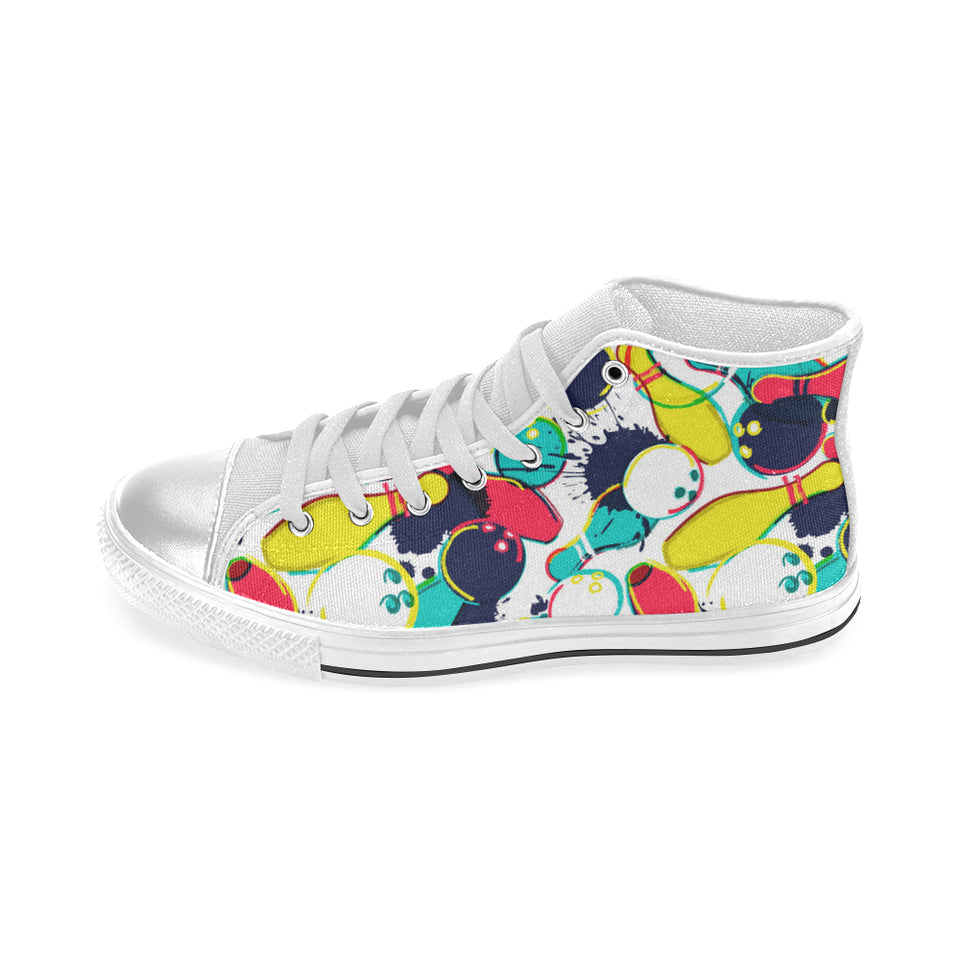 watercolor bowling ball pins Women's High Top Shoes White