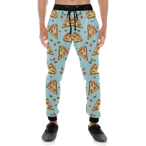 Hand drawn pizza blue background Unisex Casual Sweatpants