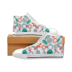 Watercolor bowling pattern Men's High Top Canvas Shoes White