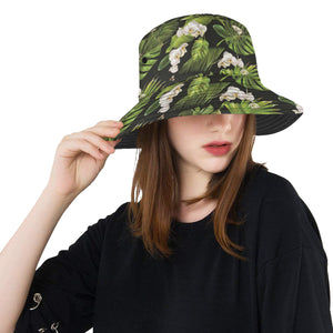 White orchid flower tropical leaves pattern blackg Unisex Bucket Hat