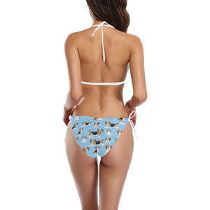 Beagle dog blue background pattern Sexy Bikinis Two-Piece Swimsuits
