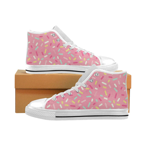 Pink donut glaze candy pattern Men's High Top Canvas Shoes White