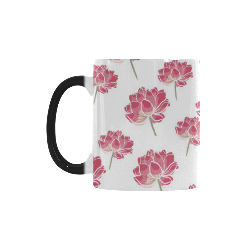 Pink lotus waterlily pattern Morphing Mug Heat Changing Mug