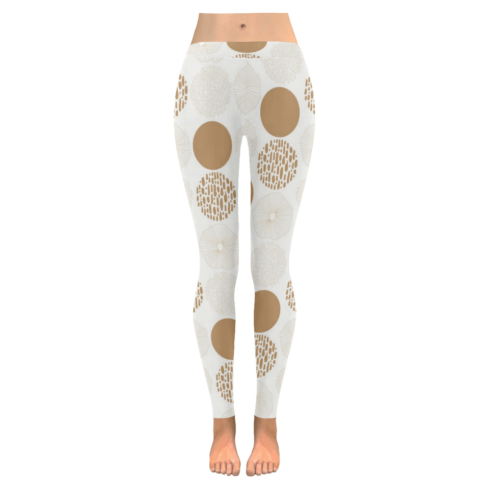Gold Texture mushroom pattern Women's Legging Fulfilled In US
