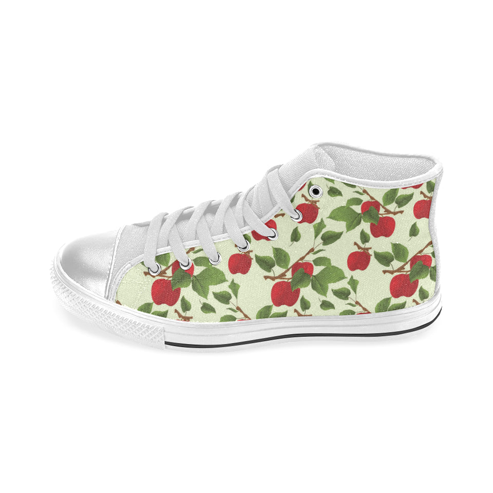 Red apples leaves pattern Women's High Top Shoes White