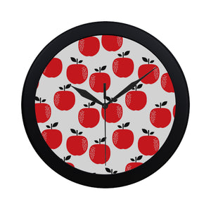 red apples white background Elegant Black Wall Clock