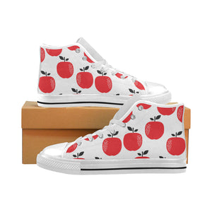 red apples white background Men's High Top Canvas Shoes White