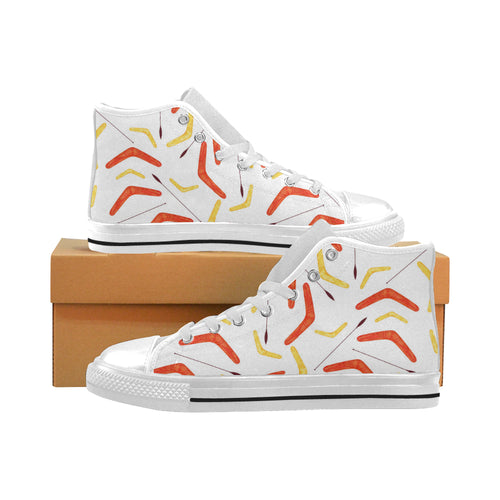 Waterclor boomerang Australian aboriginal ornament Men's High Top Shoes White