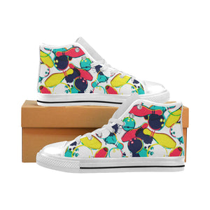 watercolor bowling ball pins Men's High Top Canvas Shoes White
