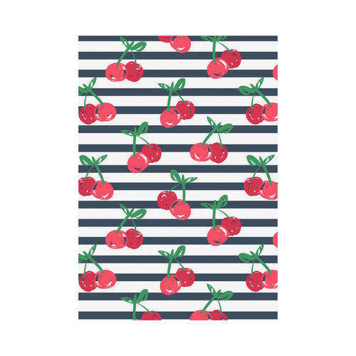 Hand drawn cherry pattern striped background House Flag Garden Flag