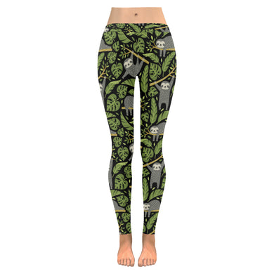 Cute sloths tropical palm leaves black background Women's Legging Fulfilled In US