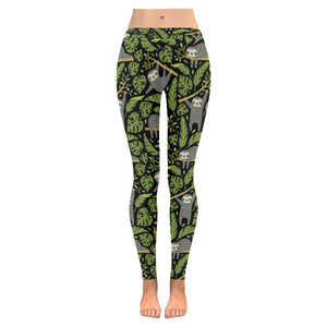 Cute sloths tropical palm leaves black background Women's Legging