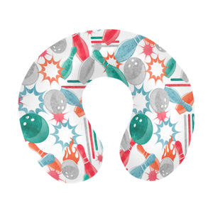 Watercolor bowling pattern U-Shaped Travel Neck Pillow