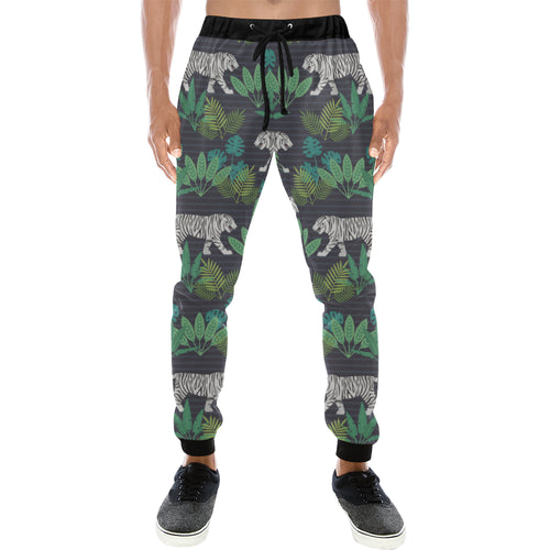 white bengal tigers tropical plant Unisex Casual Sweatpants