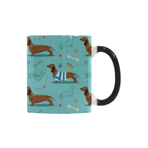 Dachshund decorative background Morphing Mug Heat Changing Mug