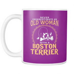 White Mug-Never Underestimate an Old Woman With a Boston terrier ccnc003 dg0046